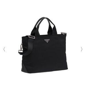 Prada Medium Double-Handle Nylon Tote Bag, Black